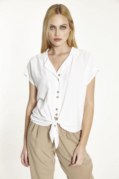 Εικόνα της Μπλούζα  μονόχρωμη με κουμπιά και δέσιμο
