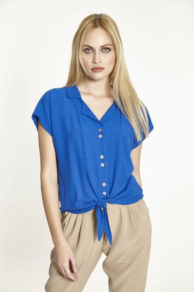 Εικόνα της Μπλούζα  μονόχρωμη με κουμπιά και δέσιμο Μπλε Ρουά