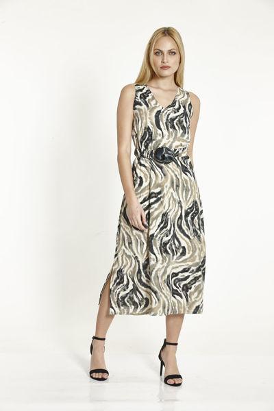 Εικόνα της Φόρεμα Μπεζ Εμπριμέ με ζωνάκι