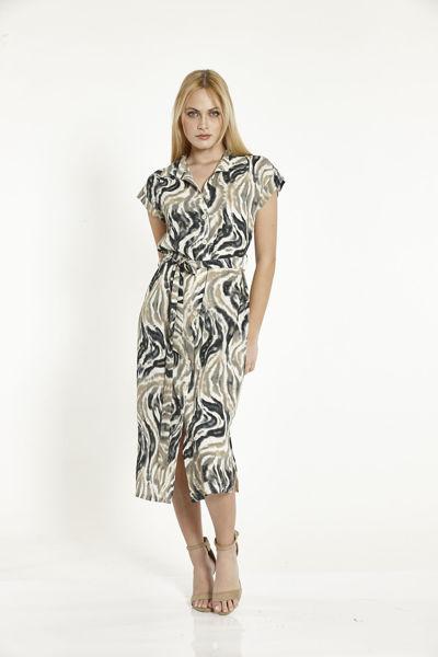 Εικόνα της Φόρεμα Μπεζ-Μαυρο Εμπριμέ