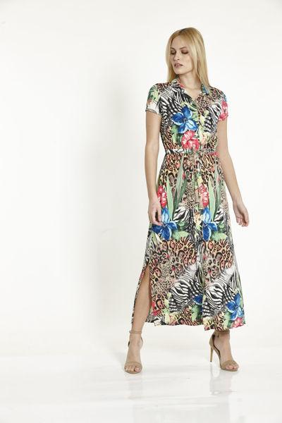 Εικόνα της Φόρεμα Εμπριμέ  με κουμπιά