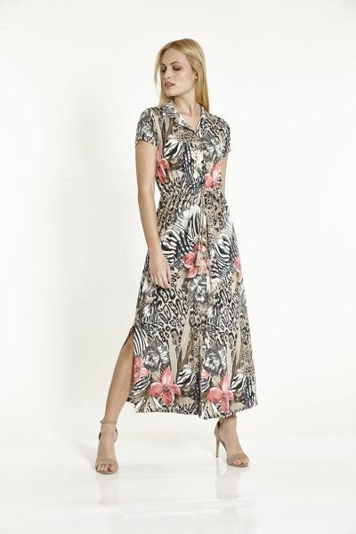 Εικόνα της Φόρεμα Εμπριμέ  Μπεζ-Κοραλι με κουμπιά