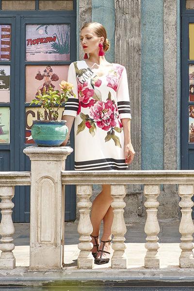 Εικόνα της Φόρεμα εκρού με μπορντούρα