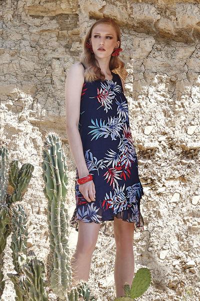 Εικόνα της Φόρεμα εμπριμέ μπλέ