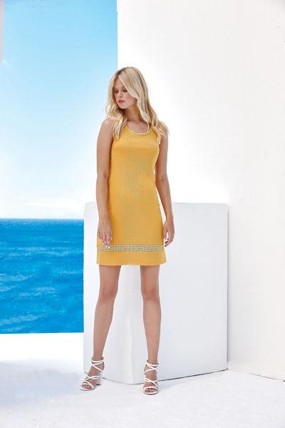 Εικόνα της Φόρεμα  αναγλυφη λεπτομέρεια Κιτρινο