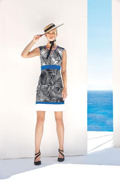 Εικόνα της Φόρεμα εμπριμέ σχέδιο φύλλα ασπρόμαυρα