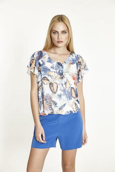 Εικόνα της Μπλούζα  Εκρού-Γαλάζιο Εμπριμέ