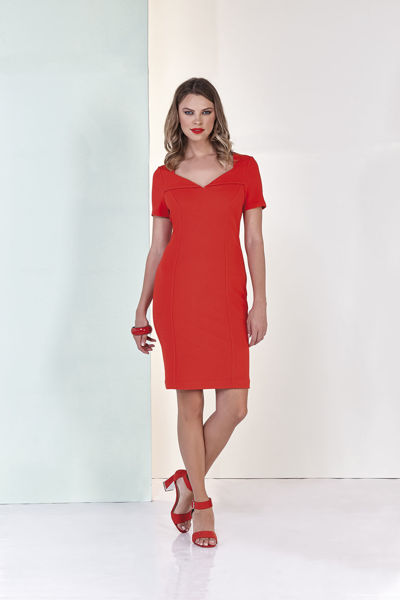 Εικόνα της Φόρεμα μονόχρωμο Κόκκινο